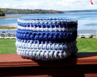 Large Storage Basket, Crochet Storage Bin in Blue, Thick Yarn Bowl, Handmade OOAK House Warming Gift