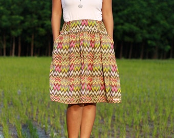 Chevron Skirt, Fall colors womens midi skirt, Tea length skirt, earthy tone, Tribal Skirt