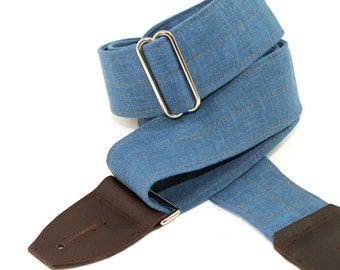 Guitar Strap in Coastal Blue Linen with your choice of leather ends