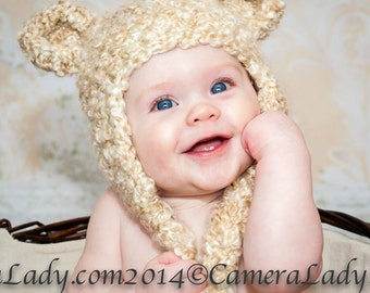 Crochet Fuzzy Tan Bear  Hat, photography prop, 0 to 3 months, crochet hat