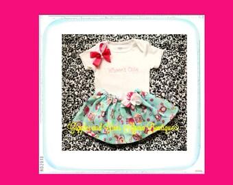 Owl Twirl Skirt Set - Whooos Cute - Little Owl Twirl Skirt Set - Includes Hair Bow