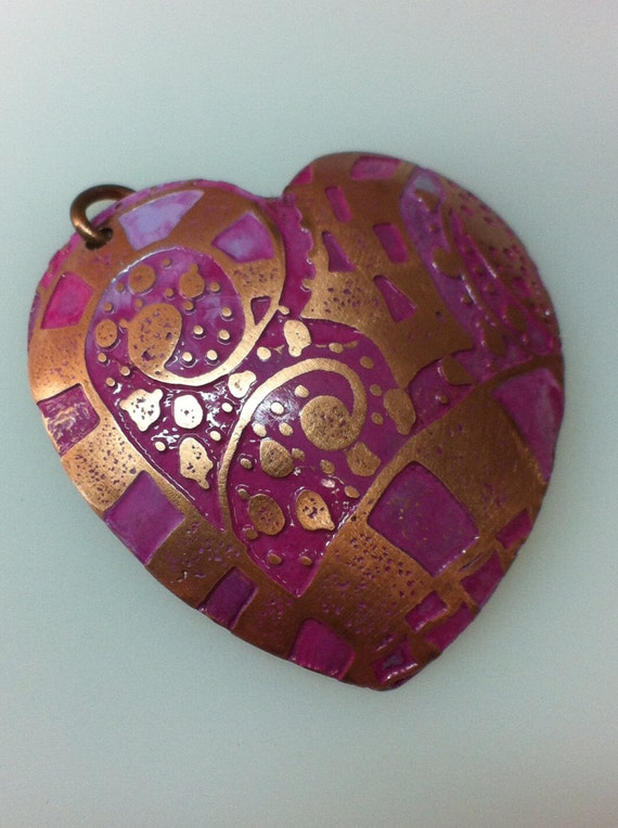 Etched Zentangle Copper 18g Pendant - Heart