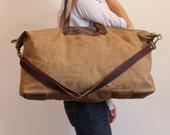 Waxed Canvas Weekend Getaway Bag Tan