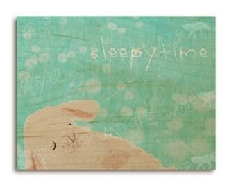 Children's / nursery art print on wood, SLEEPYTIME, lamb with dandelions, cute