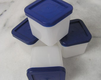 Vintage Plastic Container Set, 4 Matching Retro Mini Square Snack or Pill Containers, Tiny Plastic Tupperware Box Set