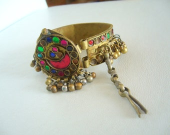 Antique afghani cuff metal/shaky cuff kuchi tribal