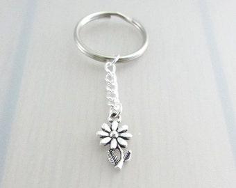 Silver Daisy Flower Keychain, Silver Daisy Flower Keyring, Daisy Charm Keychain, Daisy Keyring