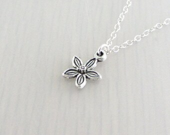 Silver Flower Charm Necklace, Silver Flower Pendant, Flower Charm Pendant, Flower Necklace