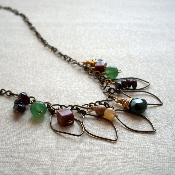 Rustic Leaf Jewelry, gemstone, wire, Falling Leaves