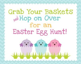 INSTANT DOWNLOAD - Chevron Stripe Easter Egg Hunt Sign -- 8x10 Print Your Own