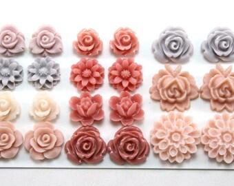 22 pcs Resin Flower Cabochons Assorted Sizes Sampler Pack - June Romance