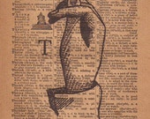 Rustic Wall Art, Farmhouse Decor, ASL, Finger Spelling Sign Language Typography Print, 1800's Art Illustration & Dictionary Page, LetterT