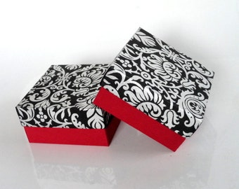 Wedding favor box,Packaging box, Bridesmaid Gift box 10 -Black and Red Silver Damask print, Jewelry Packaging Boxes