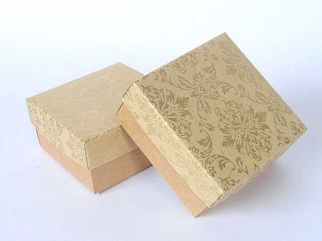 Damask Wedding Favor Boxes : Kraft paper boxes with gold damask print wedding favor