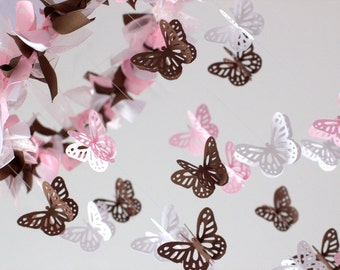 Pink Brown Nursery Mobile Butterflies in Pink Brown & White- Nursery Decor, Baby Shower Gift, Nursery Mobile