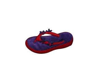 ID #7855 Red Purple Flower Sandal Fashion Iron On Embroidered Patch Applique