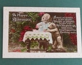 1927 Postcard Teddy Bear Tea Party Vintage Real Photograph Postcard Girl and Teddy Bear Happy Birthday