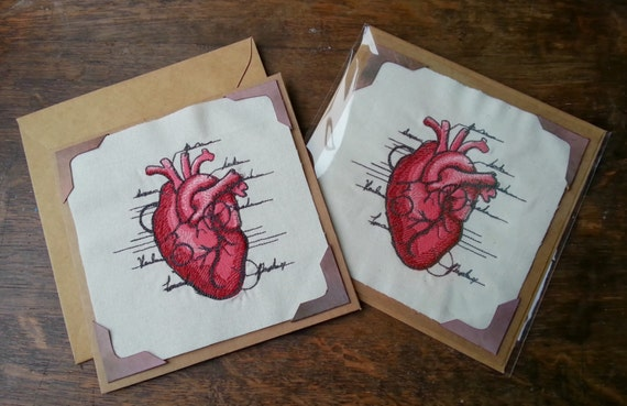 Anatomical Heart embroidered Valentine's Day card