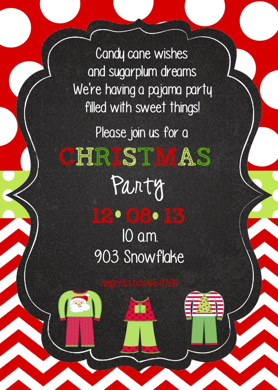 Christmas Pajama Party Invitation Digital By Stickerchic