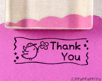 Thank you & bird Rubber Stamp