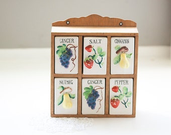 Wood and Porcelain Spice Rack Fruit Themed, Wooden Spice Rack with Porcelain Inserts