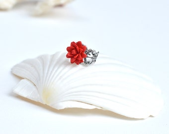Red Dahlia Ring, Dahlia Ring, Red Flower Ring, Dahlia Jewelry, Red Bridesmaid Gift.