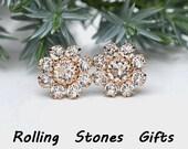 10mm Crystal and Rose Gold Swarovski Rhinestone Cluster Stud Earrings-Crystal Clusters-April Birthstone Studs-Crystal Cluster Studs-