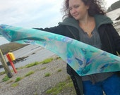 Silk Scarf Spirit of Dolphins - Hand Painted Batik Long Pure Silk in Sea Aqua, Atlantic Blue, Dolphin Grey, Vanilla and Ocean Green
