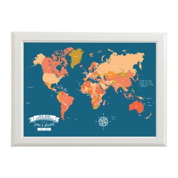 Customizable Push Pin Map of the World