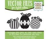 Pumpkin Trio w/Vines and Leafs Vector Digital Cut File (eps,svg, gsd,dxf, ai, jpg, png)