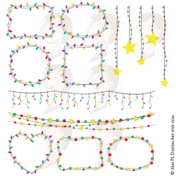 String Lights Border : Items similar to String Lights Fairy Lights Buntings Borders Christmas Party Digital VECTOR ...