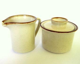 Vintage Stoneware Cream & Sugar Set, Yamaca of Japan, Brown and White, Sienna