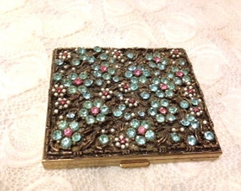 SALE: 1950s Vintage Jeweled Makeup Case