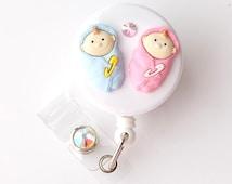 Boy Girl Twin Baby - Retractable ID Badge Reel - Decorative Badge Holder - Fun Badge Reel - Cute Name Badges - Peds Nurse Gift - BadgeBlooms