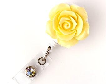 Full Bloom Yellow Rose - Retractable ID Badge Holder - Flower Badge Reel - Designer ID Reel - RN Gift - Pretty Name Badge Clip - BadgeBlooms
