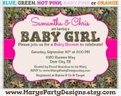 Pink Camo Girl Baby Shower Invitation - Oak Hunting Camouflage - Digital Printable  Evite