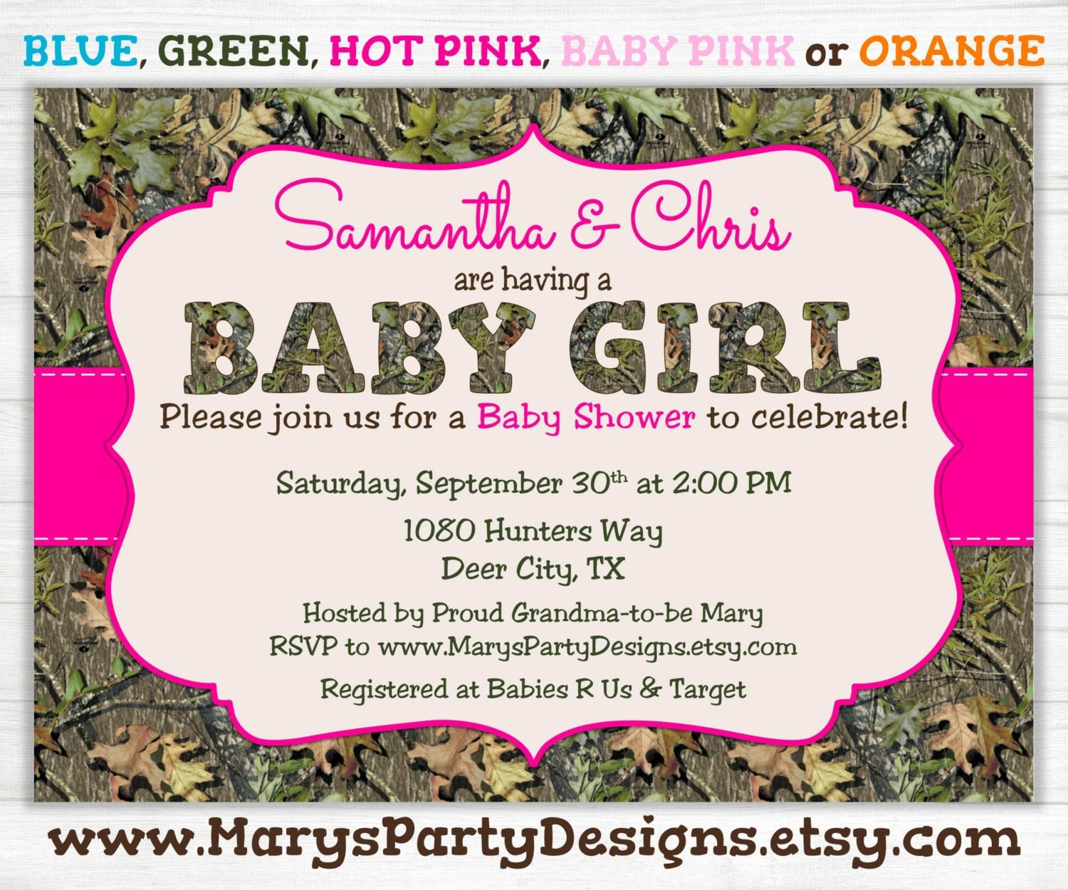 pink camo girl baby shower invitation oak hunting camouflage