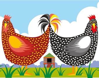Chicken House illustration print
