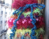 Handmade crochet faery big tote bag wild ruffle textured hippie bag psychedelic rainbow colors 3D fibers tote St Valentine's gift for her