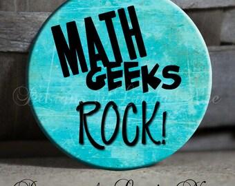 Pinback Button, Math GEEKS Rock, Math Geek, Math Nerd, Calculus, Teacher Gift, Math Key Chain, Math Magnet, Math Button, Math Pin, Button