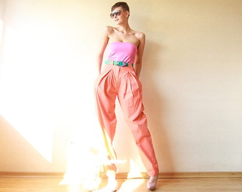 Orange cotton high waist 80s banana pants