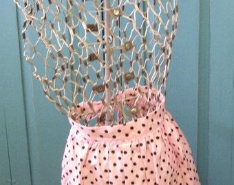 Vintage Handmade Women's Pink Black Polka-dot Tie Back Waist Kitchen Apron