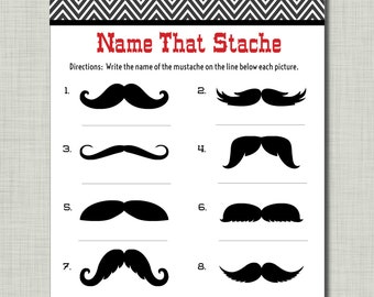 Mustache Game Name that Stache mustache baby shower game red black Mason BD18 Printable - Instant Download