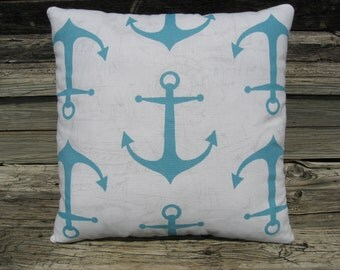 Nautical Pillow, Beach Decor, Anchor Pillow, Nautical Script, Aqua Pillow, Throw Pillow, Accent Pillow, Cottage Pillow, Seaside Decor