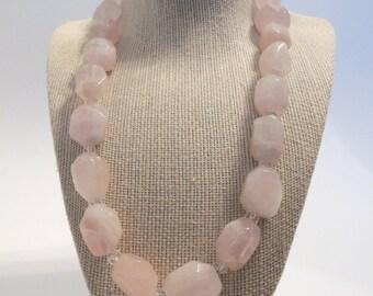 Pink Rose Quartz Nuggets Pebbles Single Strand Handmade Casual Formal Dressy Necklace Gemstones Fashion Gift under 50