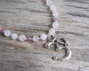 Om Necklace, Rose Quartz Jewelry, Heart Chakra Gemstone Necklace,  Minimalist Necklace, 16 - 18 inch, Yoga Necklace, READY To SHIP