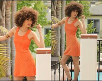 Vintage 70s Tangerine Knit Mini dress Boho Hippie woodstock XS S festival wear