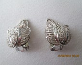 Sterling earrings Germany  filigree clip ons leaf form