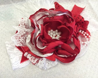 Baby Headband- baby girl Headband- Red Headband-Christmas Headband-  Flower Girl Headband- Avry Couture Creations- Couture Headband