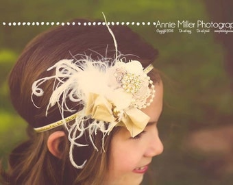 Baby Headband- Gold Headbands- Flower Girl Headband- Baptism Headband- Newborn Headband